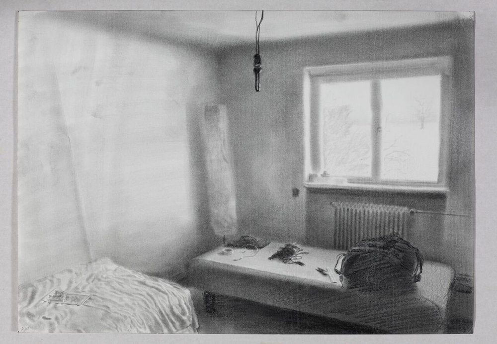 My room, Krogerup folk school 2010, 2010-2013 (Graphite on paper, 30 x 42 cm). Courtesy: David Risley Gallery and the artist. Photo: Jan Søndergaard.