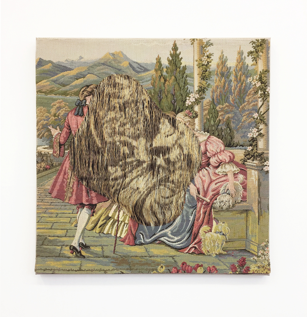 """Aiko Tezuka """"Lessons for Restoration (Geheimnis)"""", 2016 (Untied fabric (souvenir from Florence) 49 x 49 cm). Exhibited at Bleibt man an einem Ort, oder nicht_, Mikiko Sato Gallery, Hamburg (2016), art berlin 2017."""