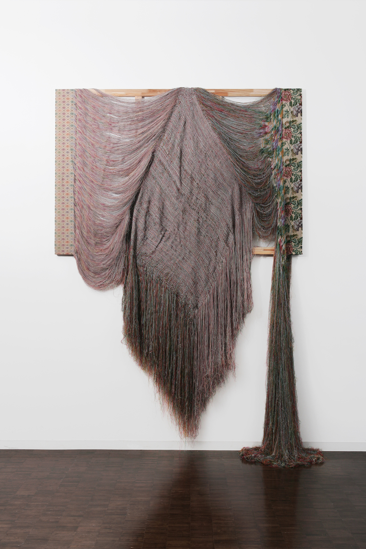 "Aiko Tezuka ""Rewoven"", 2005 (Unravelled fabric, wooden frame 241 x 194 cm, Installation height 270 cm). Won the third prize at VOCA Exhibition in 2005, Ueno Royal Museum, Tokyo, Japan. Photo: Takeru Koroda."