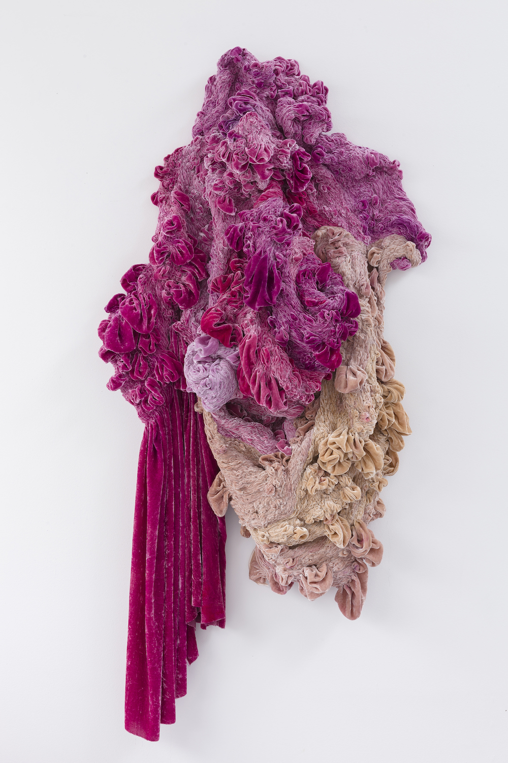 """Hanne Friis """"Phases"""", 2017 (160 x 75 x 25 cm, hand dyed silk velvet from cochenille and cones, sewn by hand). Photo: Øystein Thorvaldsen."""