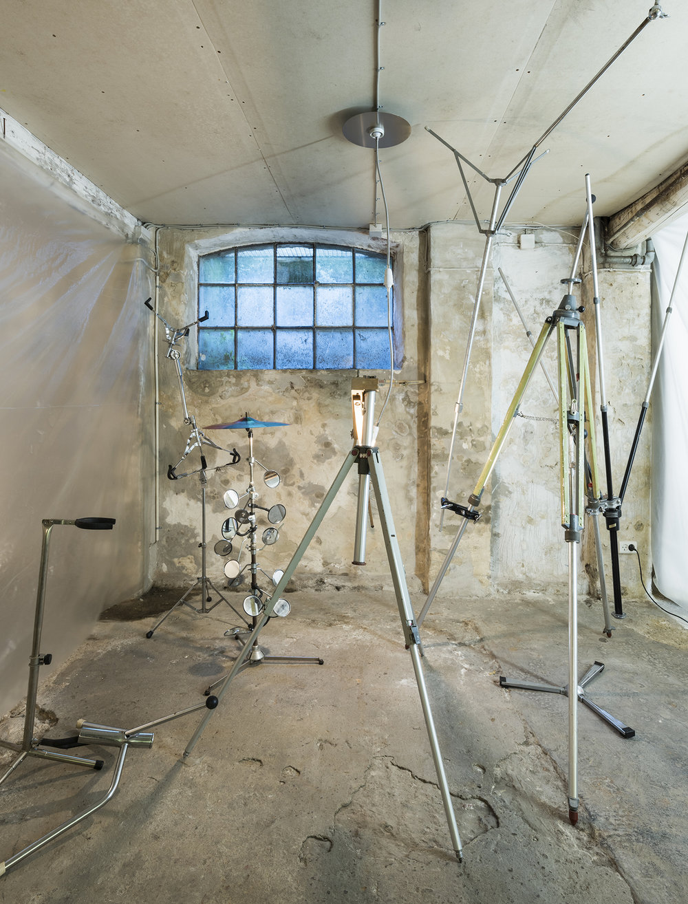 "Room 11: Orgy Room | Andreas Schlaegel ""Clusterfuck"", 2017 (various drums and photo stands, easel). Photo by David Stjernholm."