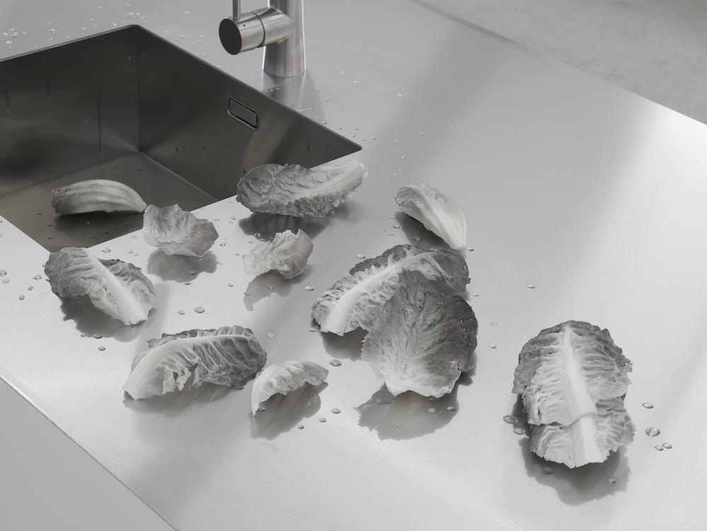 "Simon Dybbroe Møller ""Lettuce (detail),"" 2015 (installation) | Courtesy of Laura Bartlett Gallery, London."
