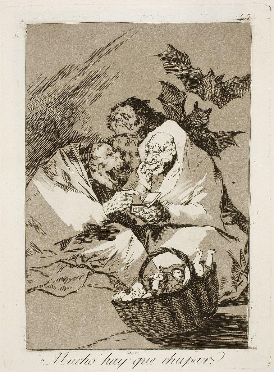 Goya Mucho hay que chupar, 1799, etching and burnished aquatint.