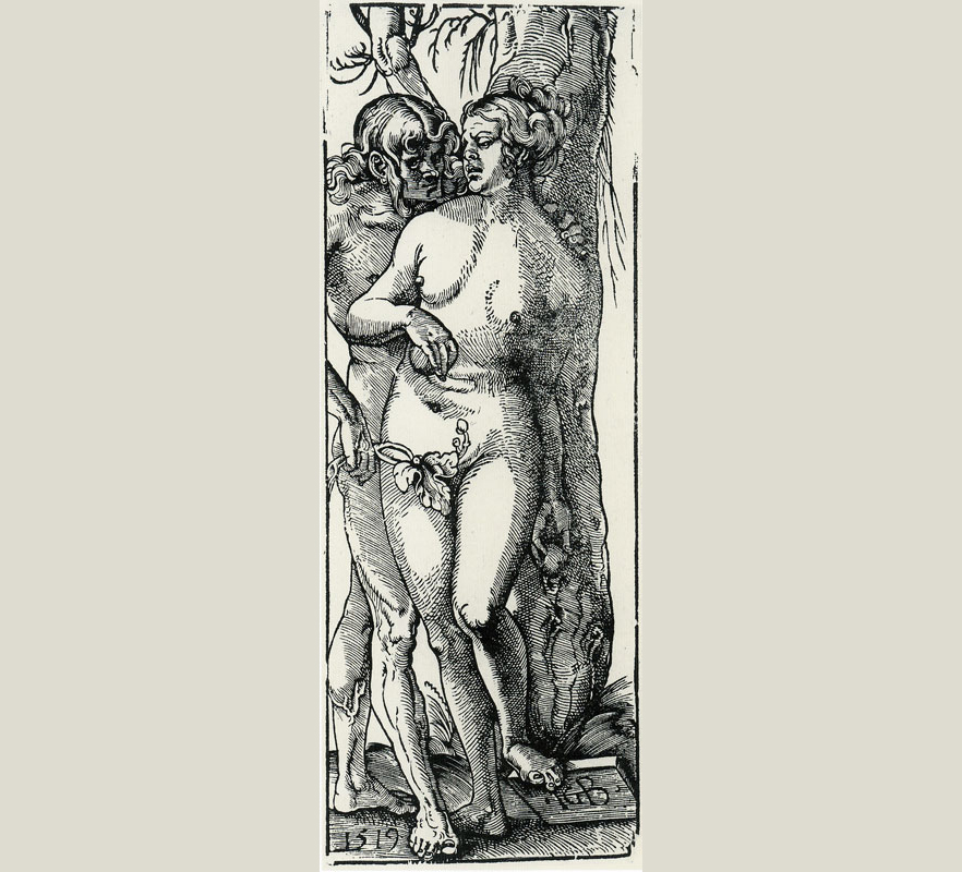Hans Baldung Grien's woodcut The Fall of Man from 1518.