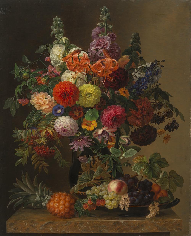 """J.L. Jensen """"Opstilling med blomster og frugt"""", 1836. Landesmuseum für Kunst und Kulturgeschichte Oldenburg."""