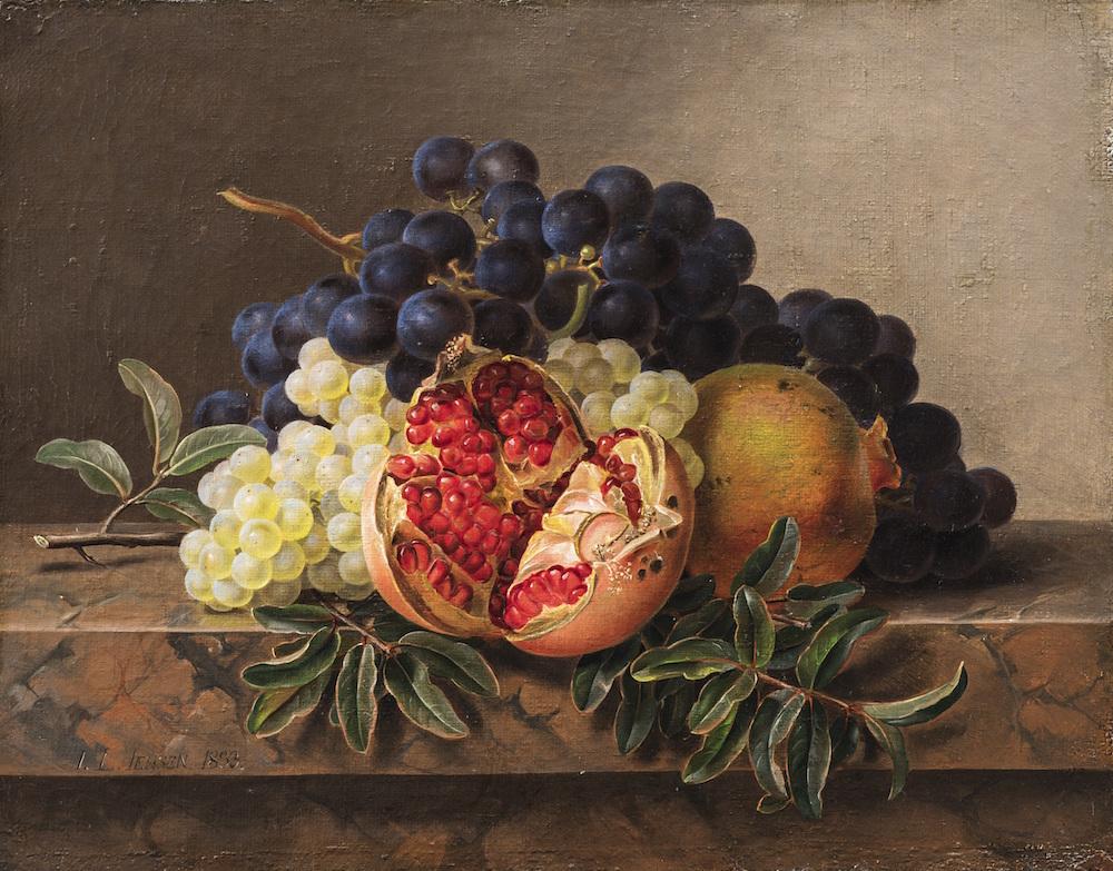 """J.L. Jensen """"Granatæbler, grønne og blå druer på en marmoreret karm"""", 1833. Nivaagaards Malerisamling."""