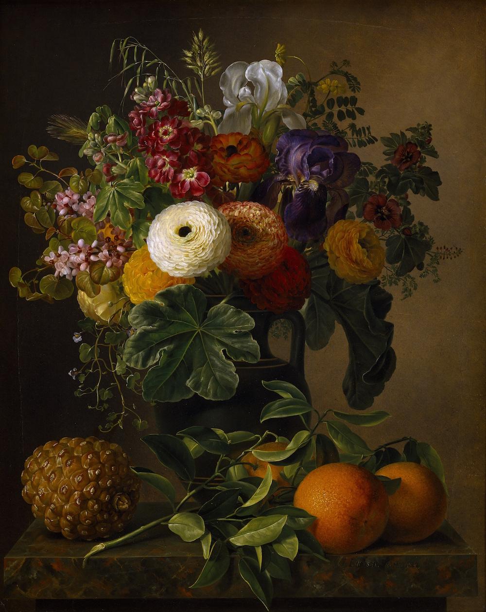 "J.L. Jensen ""Nature morte med blomster i antik vase på en marmorbordplade"", 1834. Thorvaldsens Museum."