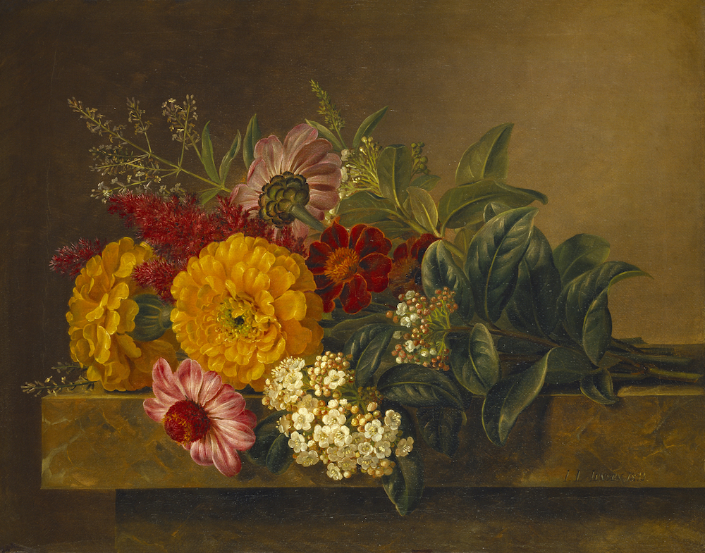 "J.L. Jensen ""Nature morte med blomster på en marmorbordplade"", 1833. Thorvaldsens Museum."