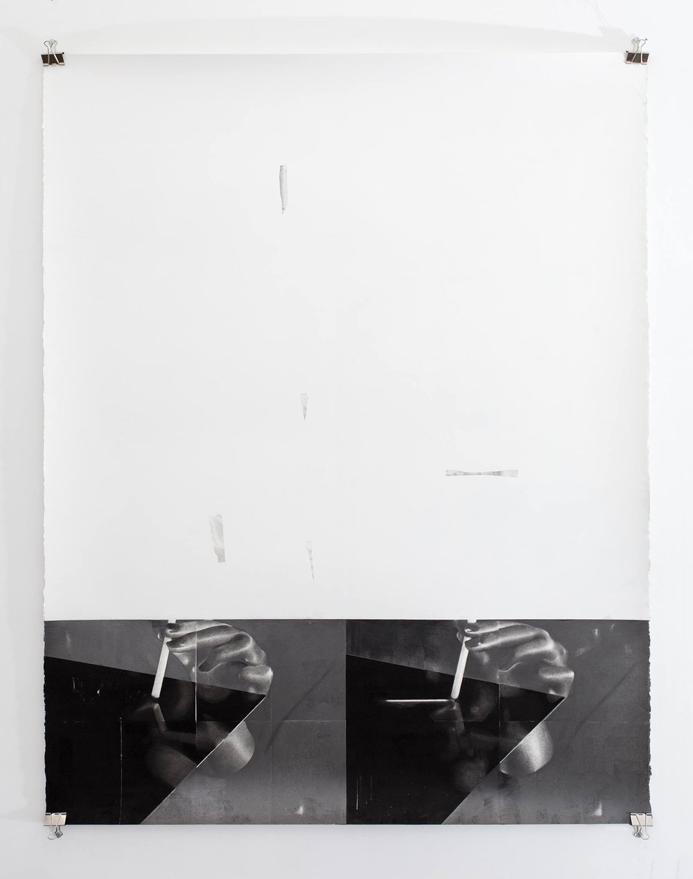 Andreas Albrectsen, 'Track and Trace', 2017 (Graphite, charcoal, spray paint on paper, 114 x 146 cm). Foto: Kristian Touborg.