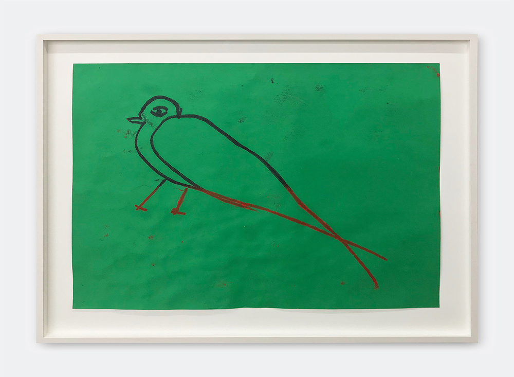 Spencer Sweeney, Birdie, 2015. Oil pastel on paper, 50x65cm/62x76,5 cm (framed).