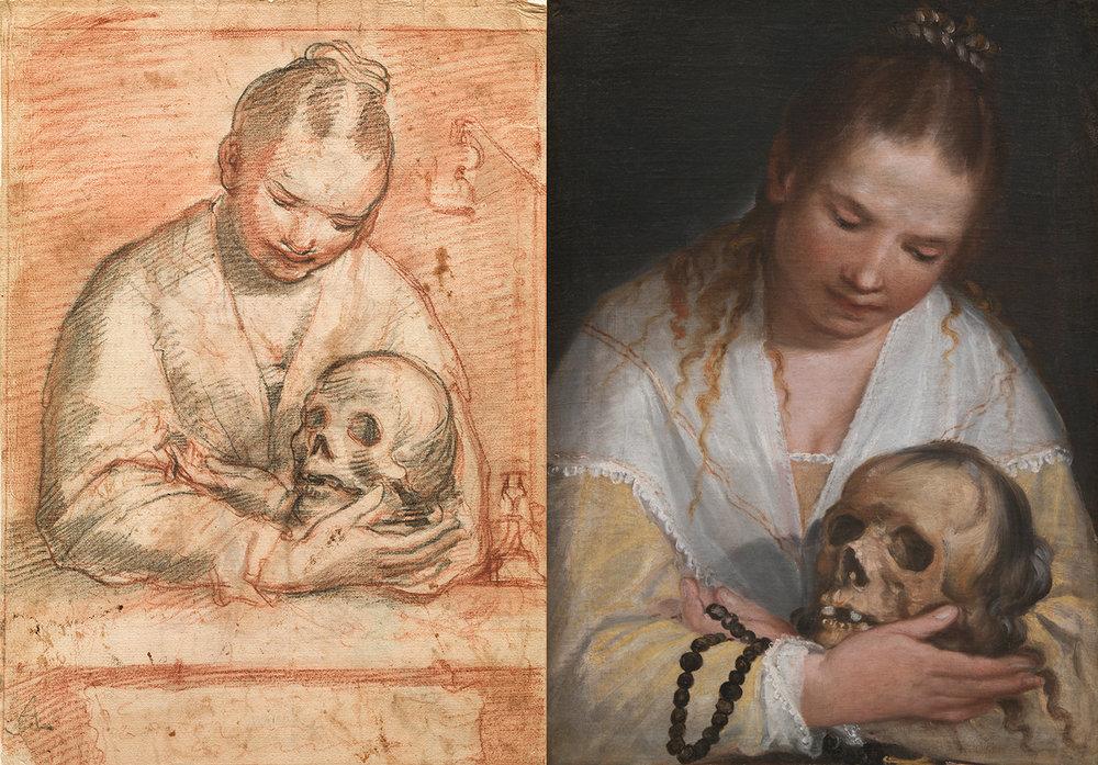 Alessandro Casolani (italiensk, 1552/53-1607), Kvinde der betragter et dødningehoved, rødt og sort kridt / olie på lærred, SMK.