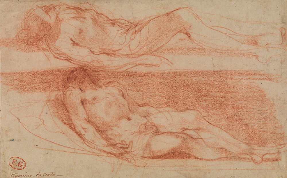 Giovanni Francesco Barbieri kaldet Guercino, To studier af liggende halvnøgen mand, Rødkridt, 264 x 165 mm. SMK, Den Kongelige Kobberstiksamling.