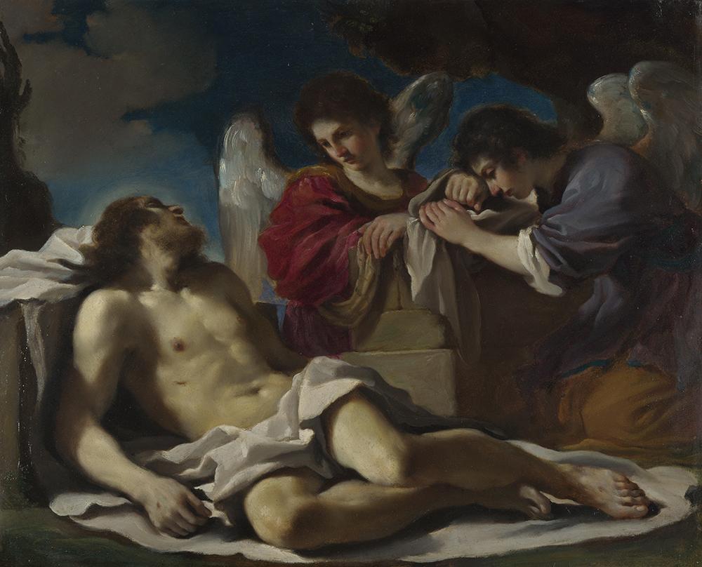 Giovanni Francesco Barbieri kaldet Guercino, Den døde Kristus begrædt af to engle, Olie på kobber, 36,8 x44,4 cm. London, National Gallery.