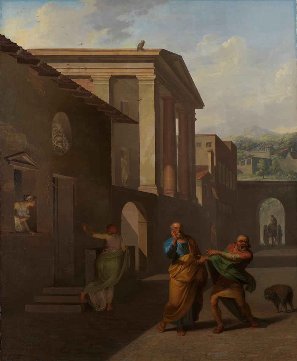 """N.A. Abildgaard, Jordemoderen forlader Androspigens hus. Simo fortæller Davus at han regner barselfærden for bedrageri Terents' komedie """"Pigen fra Andros"""", 3. optrin, Olie på lærred, 157.5 x 128.5 cm. SMK."""