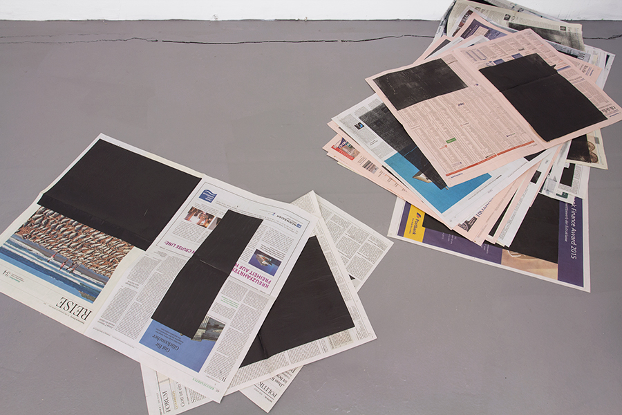 "Magnus Frederik Clausen ""Subheads"" (Untitled, 2012-2016, intaglio print on newspapers)."