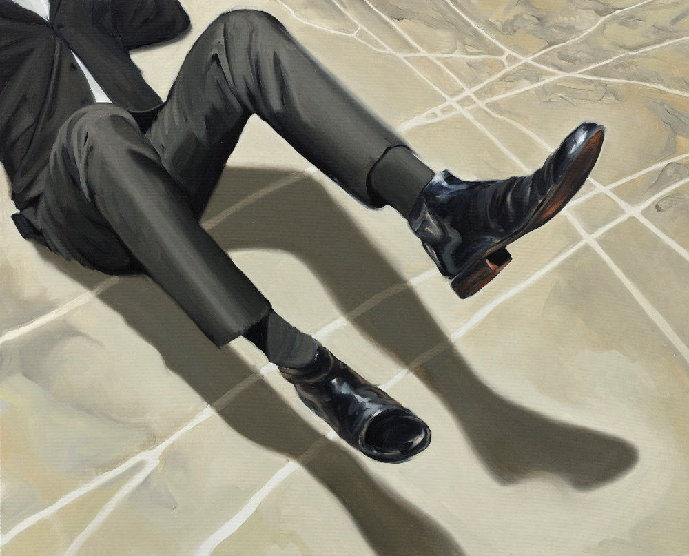 It Was His Own Fall, 2018, Oil on canvas, 80 x 100 cm. Foto: Dorte Krogh © Atelier Peter Ravn & KANT.
