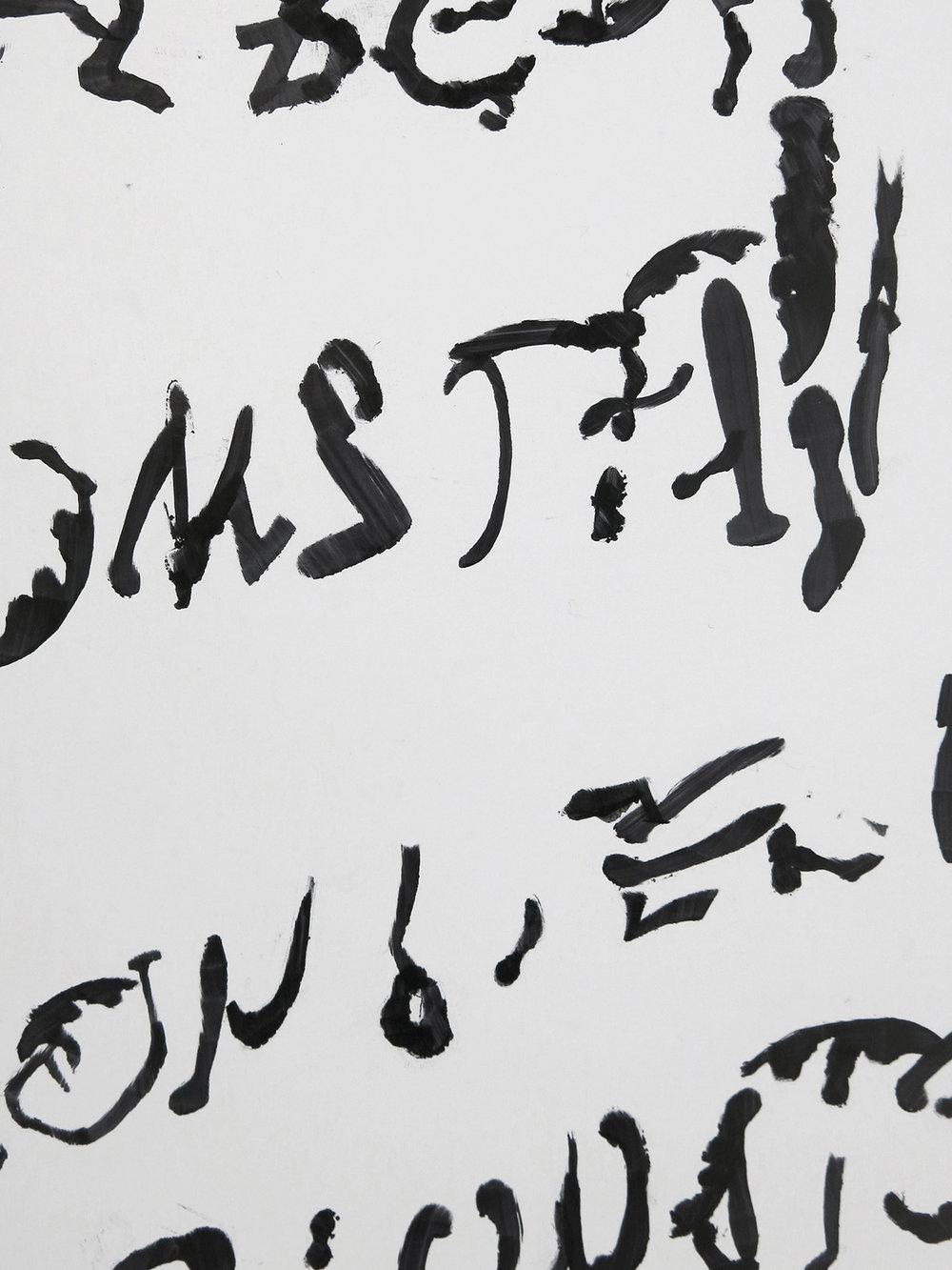 Marie Søndergaard Lolk,detalje, 2018, sprittusch på skumpap, 100 x 210 cm