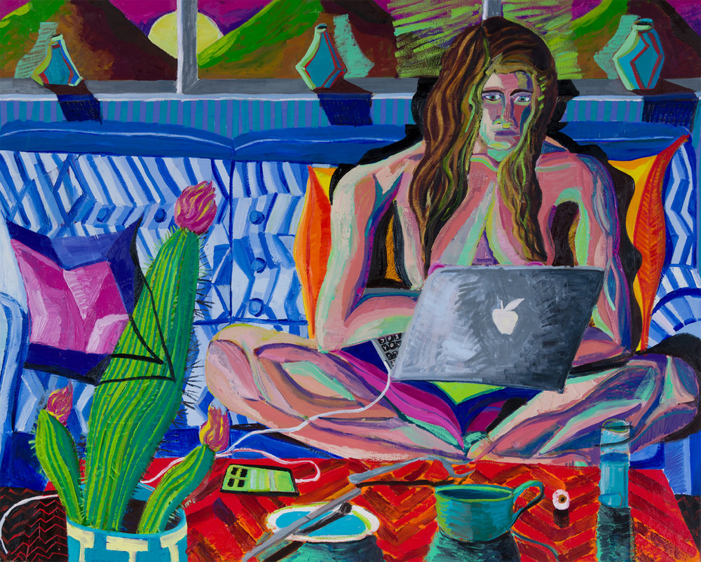 Ryan Schneider, Eve and the apple, 2017. Oil on canvas (48 x 60 inches, 122 x 152 cm)