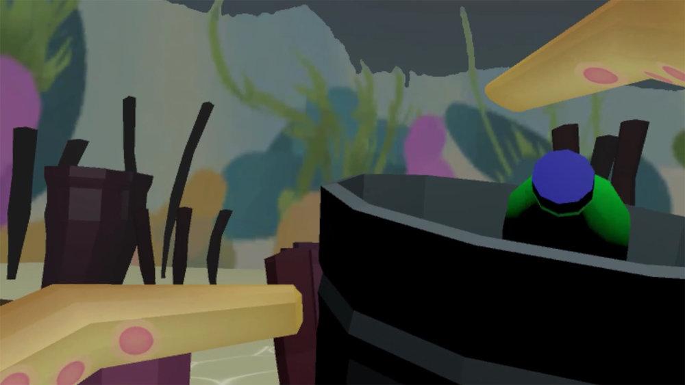 Still fra Octo Trash, VR Game Prototype. Af Basile Mathieu, Sule Serubugo, Anna Harakoulos og Costin Benescu.