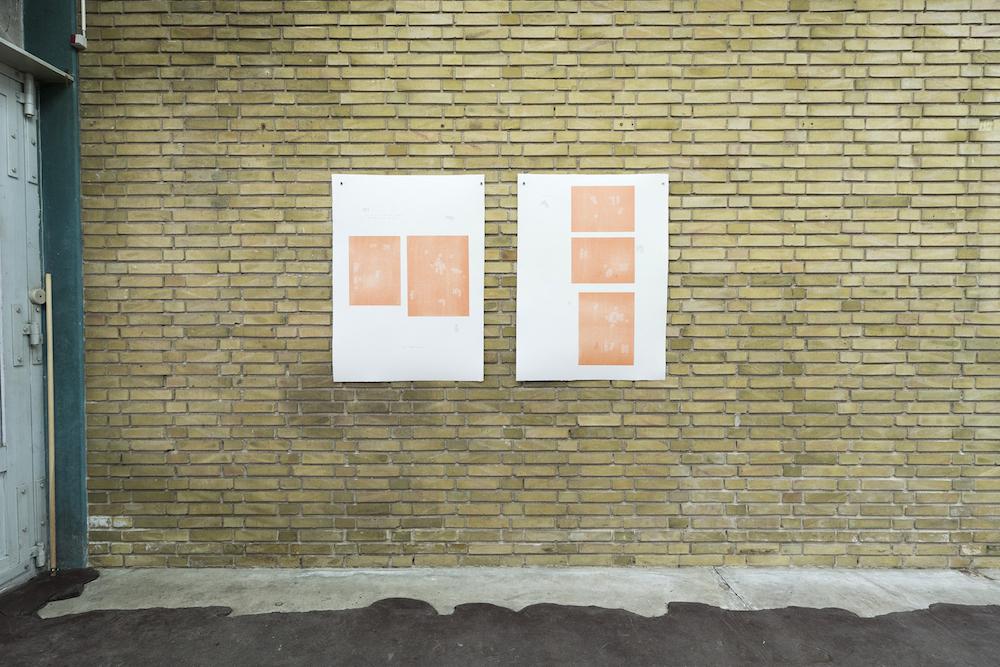 """Ester Fleckner """"Contraposer"""", 2018. Diptyk 106x78 cm, Træsnit på papir, blyant (2 dele)."""
