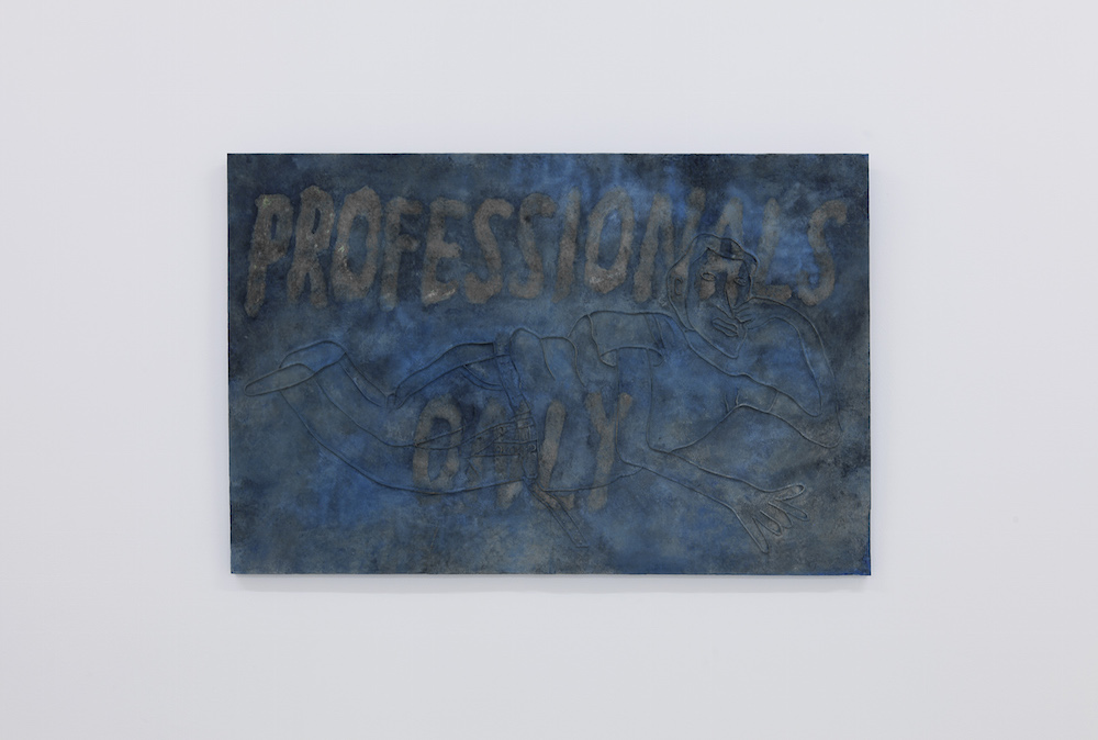 """Mette Hammer Juhl & Lorenzo Tebano """"Professionals Only"""", 2018 (Plaster and pigment). Photo: Kevin Malcolm."""