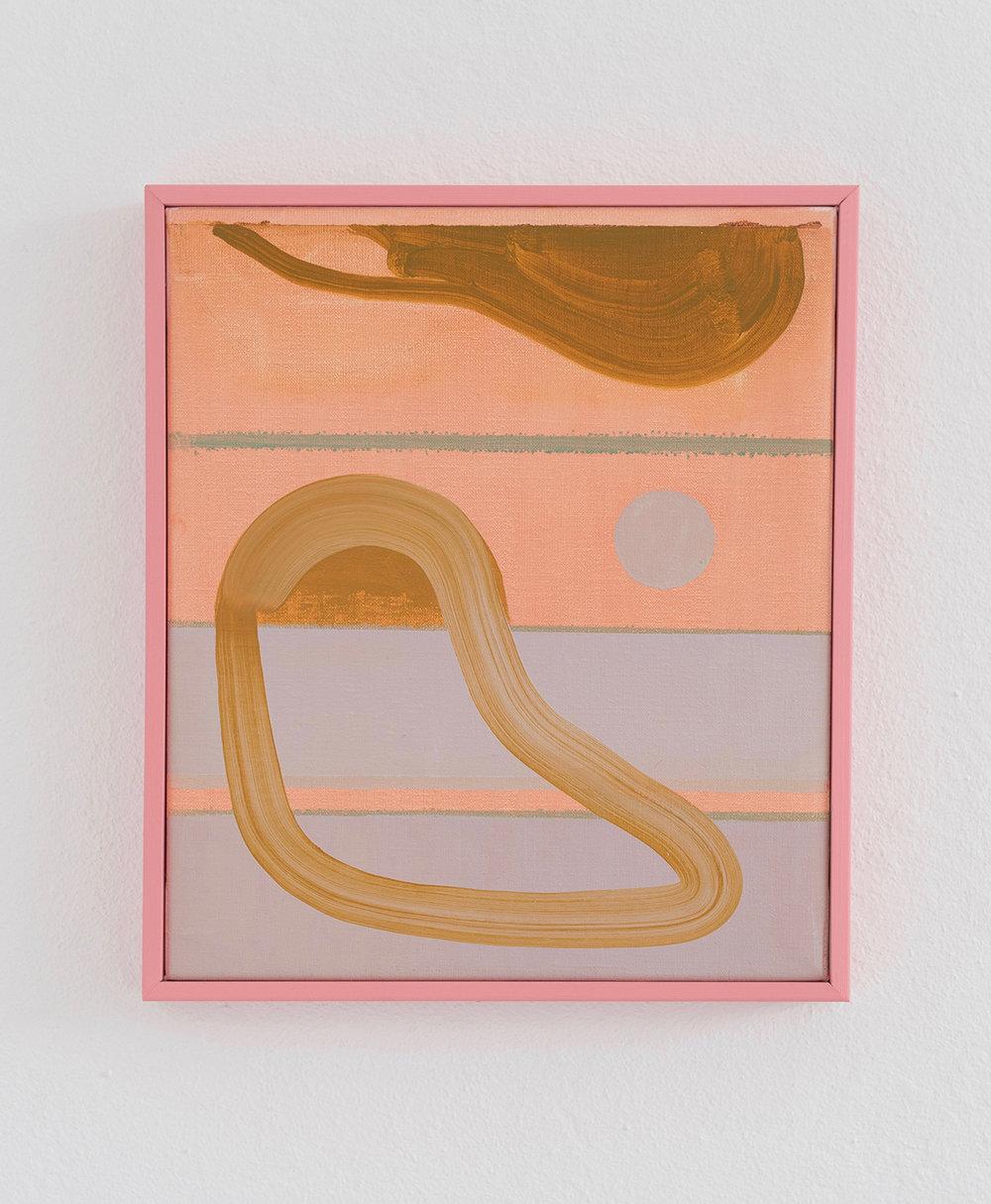 Path and circle / olie på lærred, træramme, 38 x 32 cm. Foto: Benthe Foged Madsen.