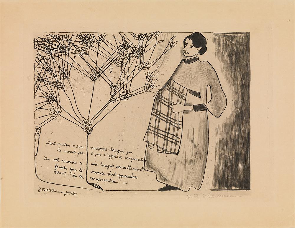 """J.F. Willumsen """"Frugtbarhed,"""" 1891 (Stregætsning, akvatinte og roulette. 247 x 342 mm. SMK.  Ved åbningen af Den Frie i 1891 viste J.F. Willumsen raderingen """"Frugtbarhed,"""" der vakte stor skandale. Det var især raderingens udtryk, der vakte anstød: det bevidst simple billede virkede uskønt, groft udført og adskilte sig radikalt fra det, man var vant til se. Derudover vakte det forargelse, at Willumsens egen højgravide kone Juliette var fremstillet uden blufærdighed og flankeret af et spirende kornaks som symbol på formeringen. På billedet står der på fransk:  """"Den gamle kunst har sit gamle sprog, som verden har lært at forstå. En ny kunst har et nyskabt sprog, som verden må lære, før den kan forstå det."""""""