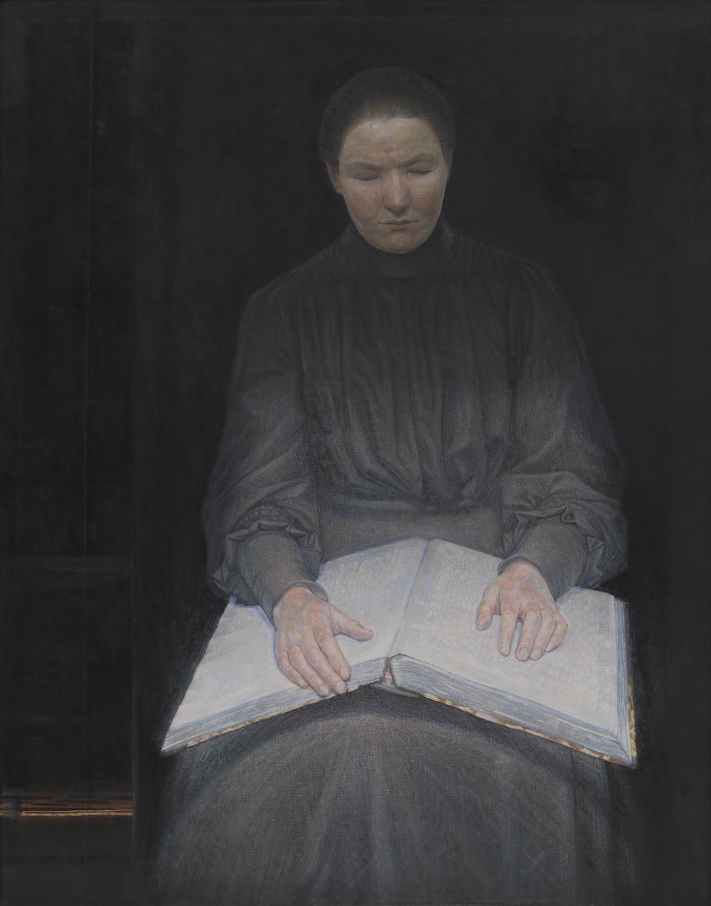 """Ejnar Nielsen """"En læsende blind pige,"""" 1905 (Olie på lærred. 113 x 89 cm). SMK."""