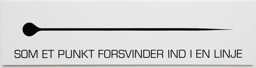 "Christian Vind ""Som et punkt forsvinder in i en linje,"" 2018. Gouache and sticky foil on canvas, 50 x 200 cm. Photo: Anders Sune Berg."