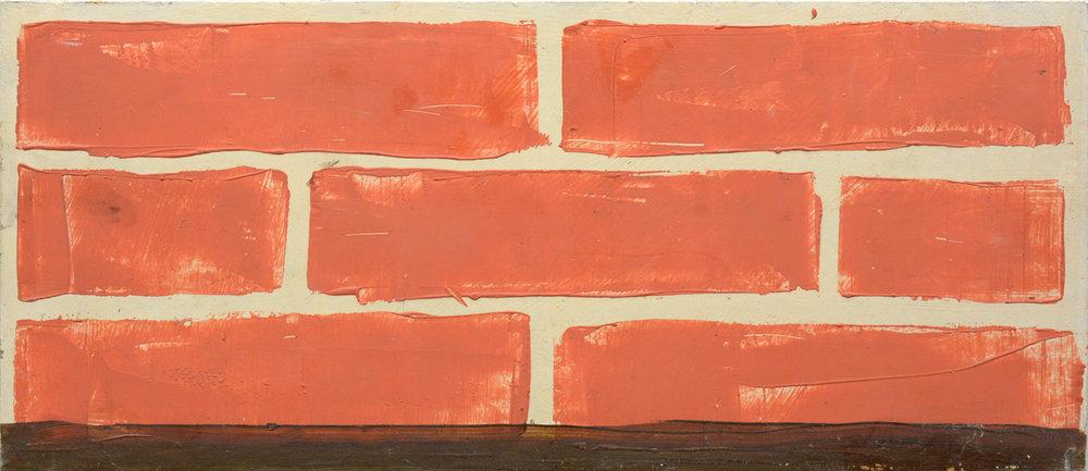 """Mogens Gissel """"Mur,"""" 1994. Olie på plade, 20x46 cm. Foto: Erik Balle."""