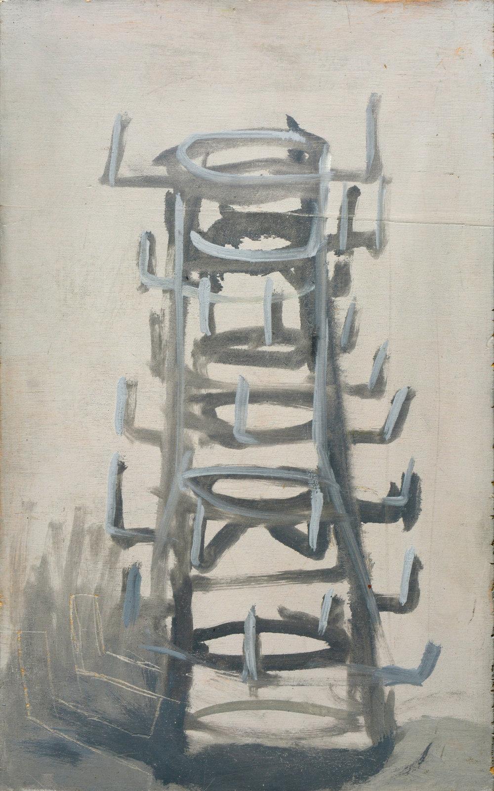"""Mogens Gissel """"Flasketørrestativ,"""" 1996. Olie på plade, 45x28 cm. Foto: Erik Balle."""