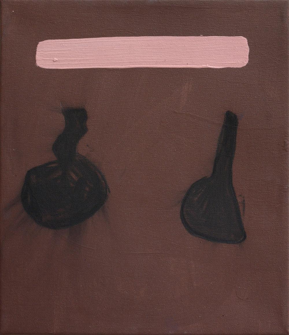 """Mette Braüner """"Uden titel,"""" 2017. Akryl og kul på lærred, 35x30 cm. Foto: Erik Balle."""