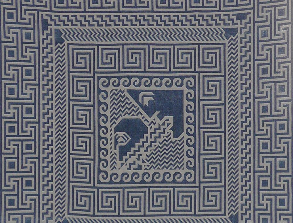 Søren Krag, Pallas Athena speaks winged word to Diomedes (Iliad V), 2018 (Jacquardvævet tekstil).