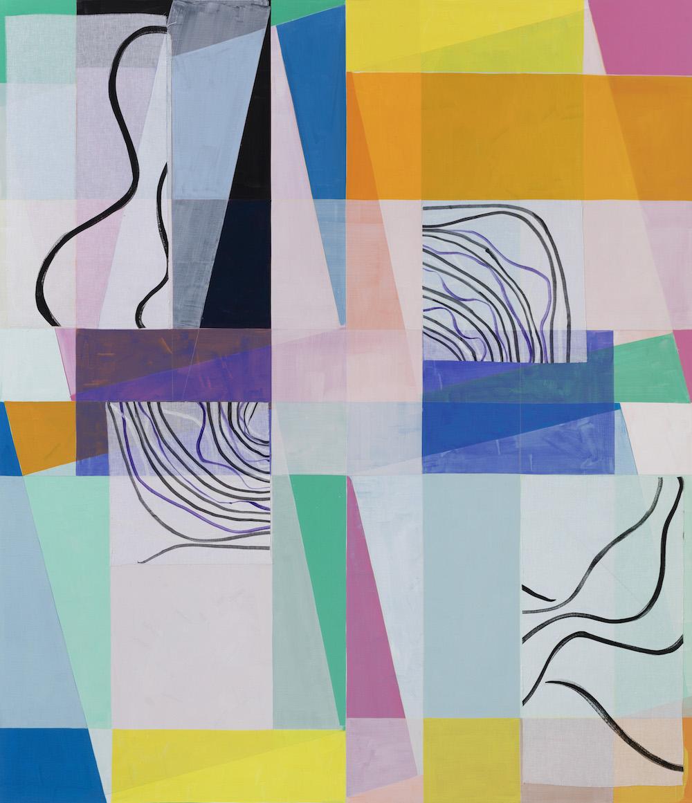 """Malene Landgreen """"Beyond Reasons,"""" 2016 (akryl og applikeret gaze på lærred, 225x195 cm)."""
