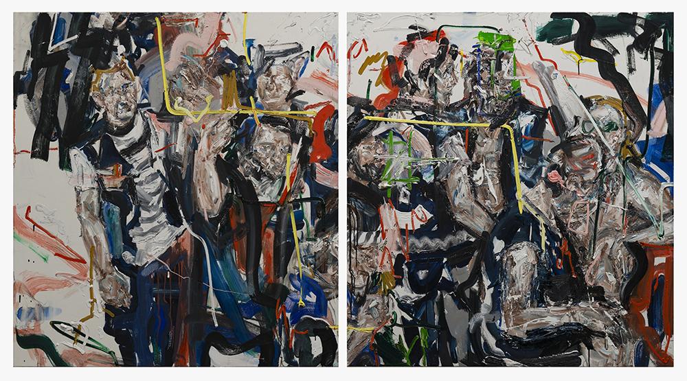 John Copeland, Contraflow, 2018. Oil on canvas (117 x 254cm (dyptich)).