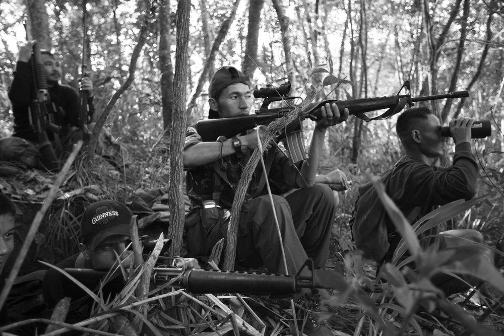 Kc Ortiz, KNLA rebels in position above Burma Army base.