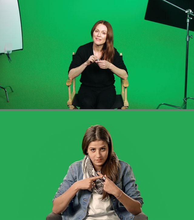 Candice Breitz, Stills fra Love Story, 2016. Med Julianne Moore og Alec Baldwin. Interviewet: Sarah Ezzat Mardini. Courtesy Goodman Gallery, Kaufmann Repetto og KOW.
