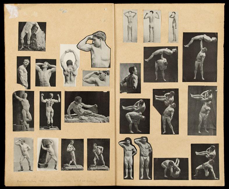 """Opslag fra J.F. Willumsens udklipsmappe """"Mænd I"""". Mænd, Boksere, Modeller. Tilhører J.F. Willumsens Museum."""