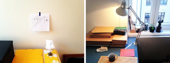 Mari's workspace. Photos by Mari Kanstad Johnsen.
