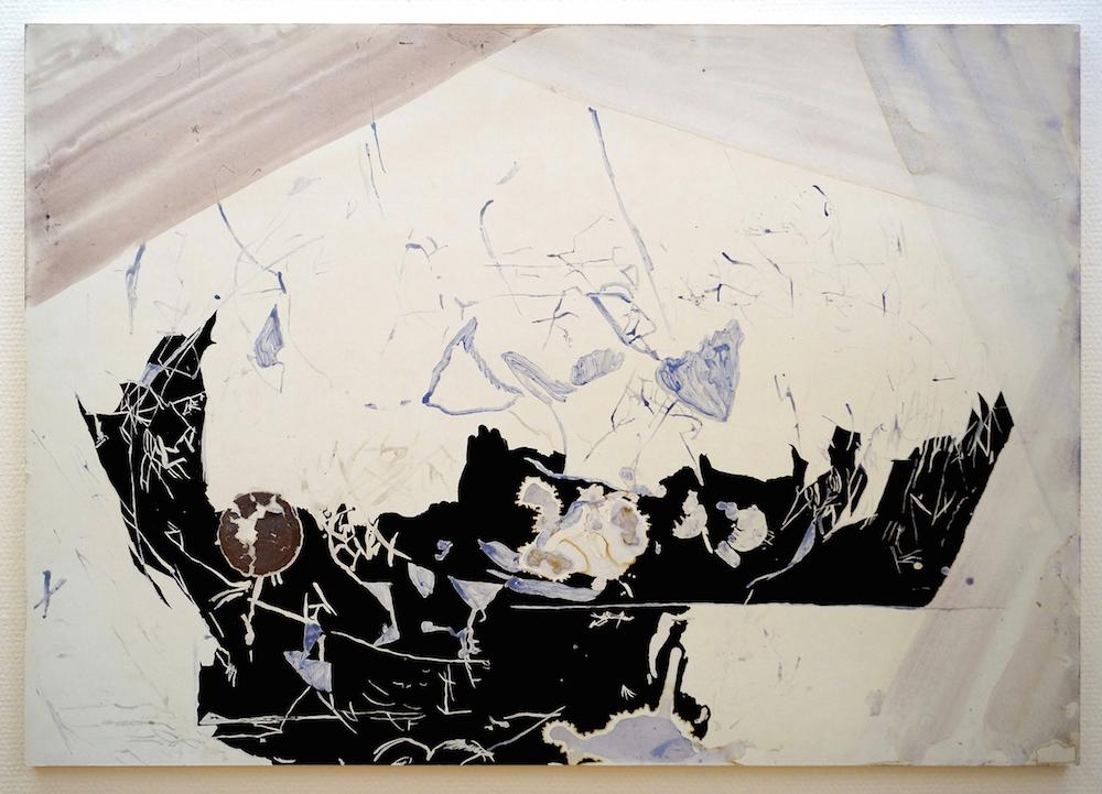 "Camilla Rasborg ""Uden titel,"" 2018 (70 x 100 cm, akvarel, goache, bagplade fra fundet billede). Foto: Camilla Rasborg."