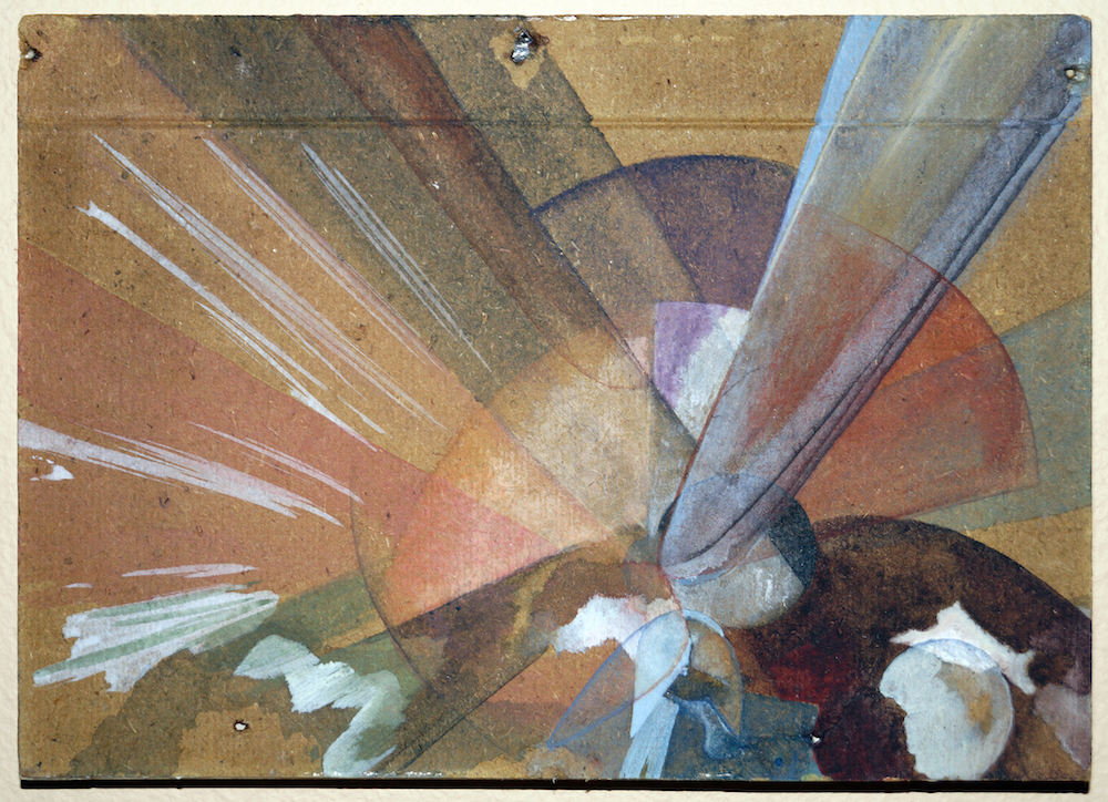 "Camilla Rasborg ""Uden titel,"" 2018 (13 x 17 cm, akryl, akvarel, bagplade fra fundet billede). Foto: Camilla Rasborg."