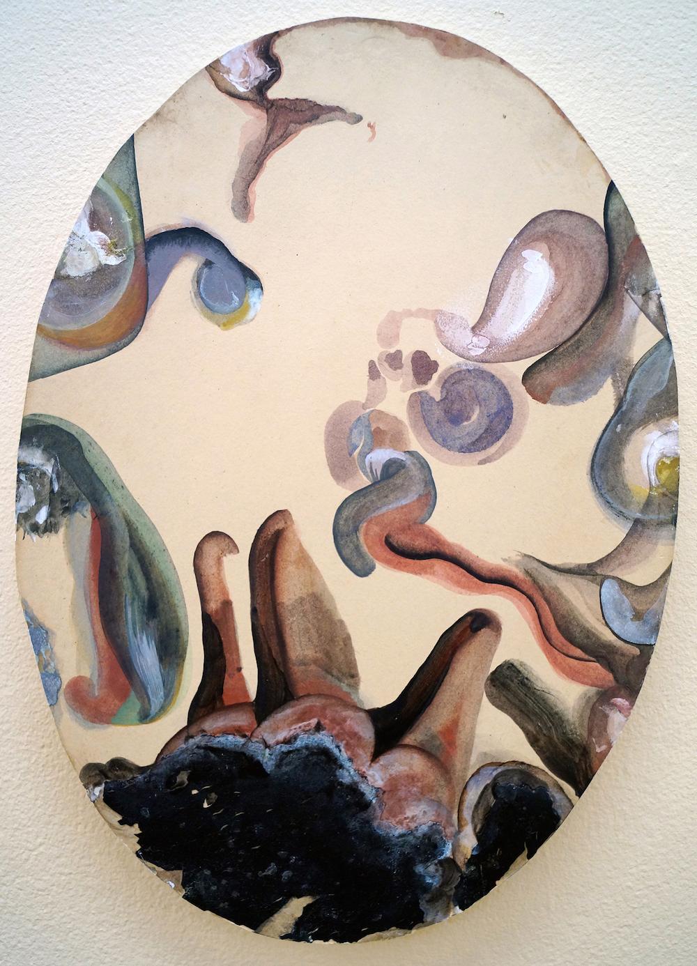 "Camilla Rasborg ""Uden titel,"" 2018 (højde 40 cm, akryl, akvarel, bagplade fra fundet billede). Foto: Camilla Rasborg."