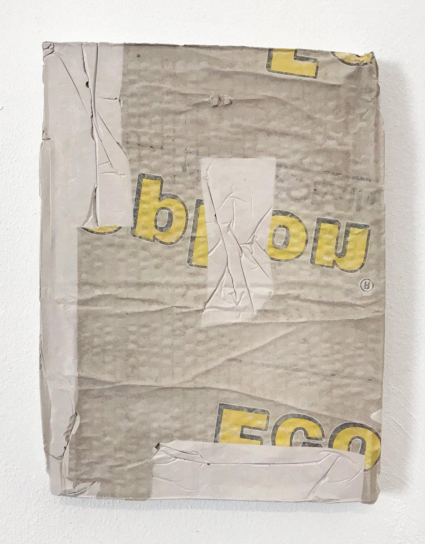Jóhan Martin Christiansen: PAD, 2017, Plaster, residue cardboard & ink, 31 x 23 x 2 cm.