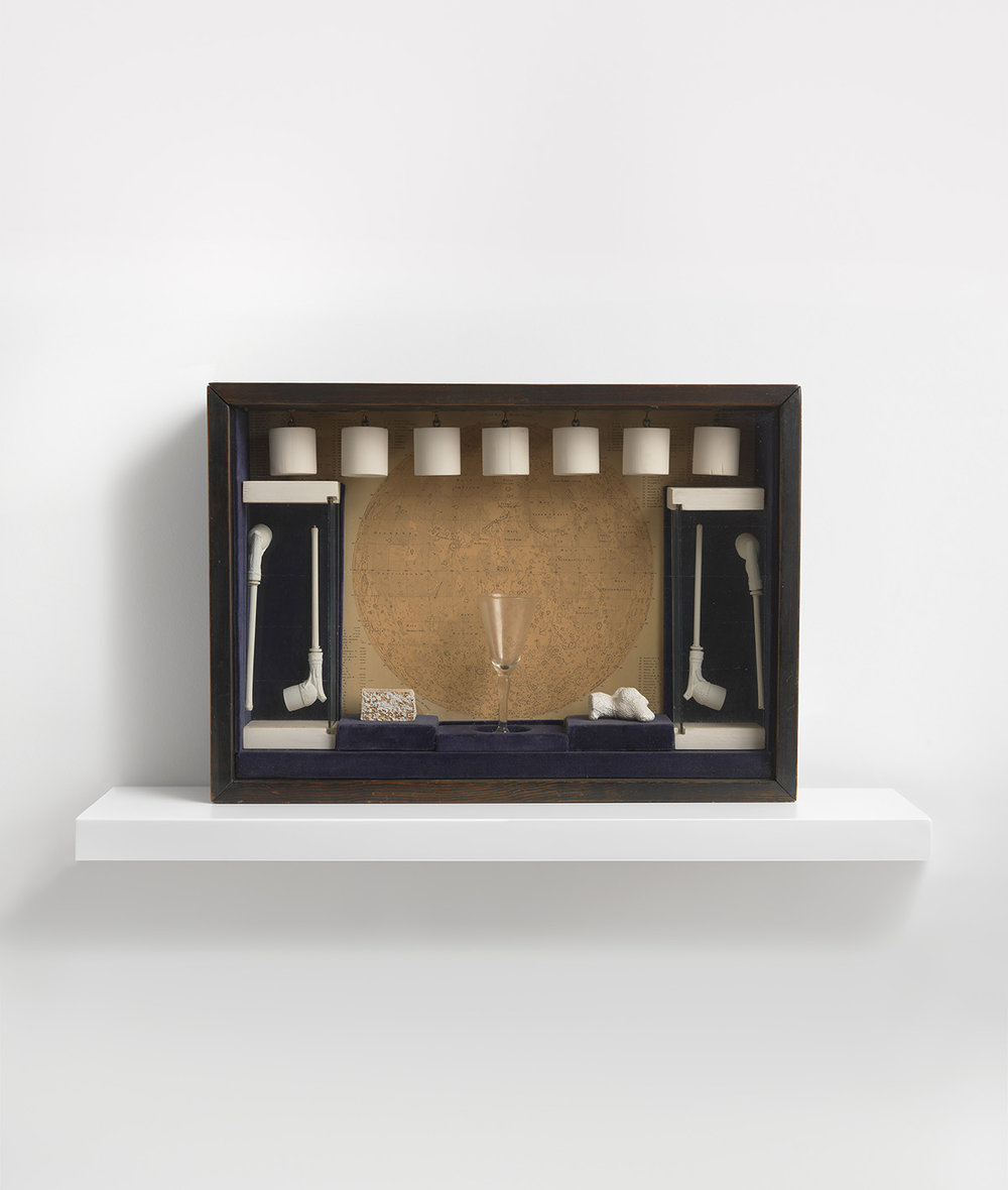 Joseph Cornell, Sæbeboble-sæt, 1948 (Bokskonstruktion, 36,8 x 52,1 x 9,8 cm). Collection of Mr. & Mrs. John Stravinsky © The Joseph and Robert Cornell Memorial Foundation / VISDA 2018.