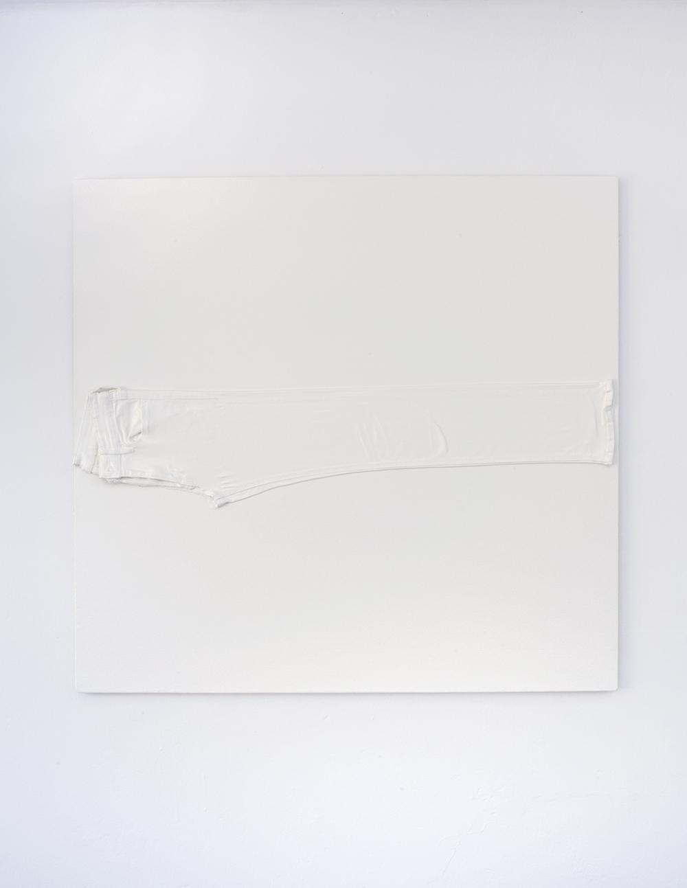 Girlfriend, 2018 (enamel, acrylic, jeans, primed canvas, stretcher bars, staples 100x100cm).