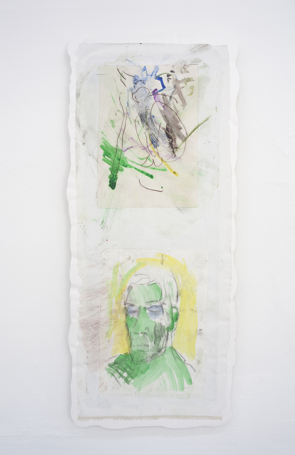 TMNT self portrait with Donatello, 2017-2018. (Watercolour, paper, wet room glue, resin, fiberglass, mdf, plaster, 46x110cm).