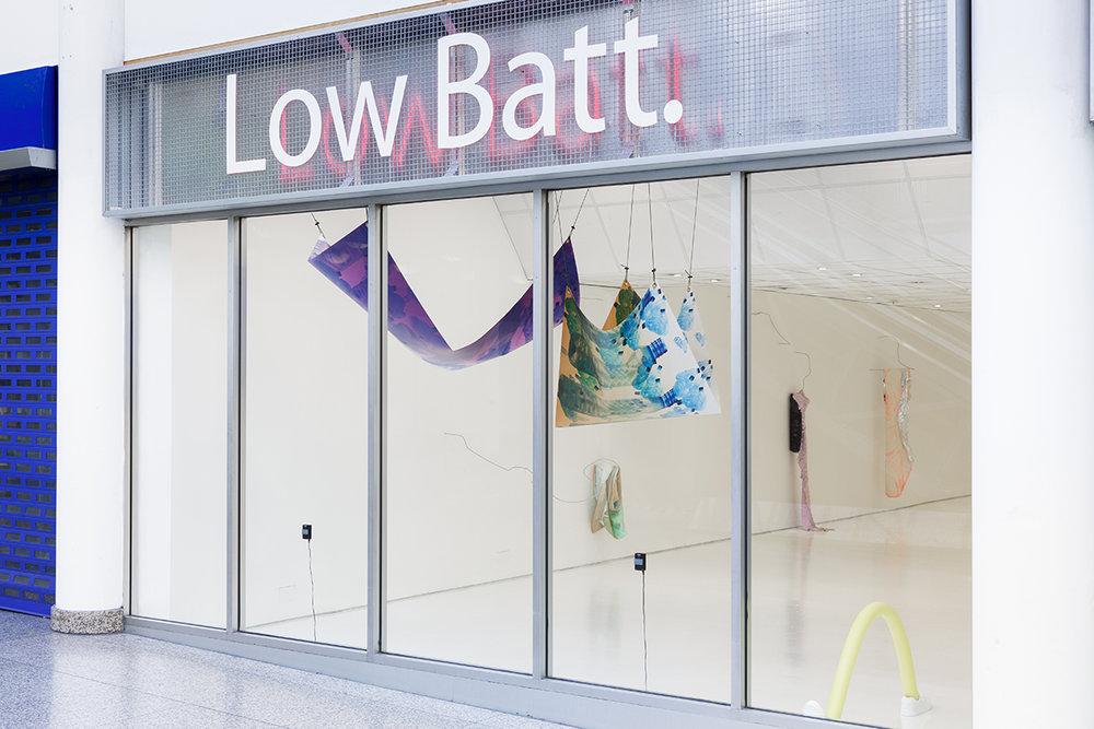 Install view: Low Batt. 2018. Leah Carless, Janina Lange, Mette Boel. Photo: Tim Bowditch.