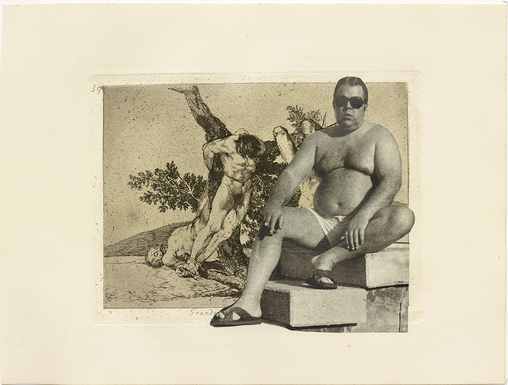 Jake & Dinos Chapman, The Disasters of Everyday Life, 2017. 80 modificerede Goya tryk fra serien 'Krigens rædsler' / Set of 80 reworked Goya etchings from 'The Disasters of War' series with collage, 23.5 x 31.4 cm. Courtesy the artists and Blain|Southern. Photo: Jack Hems.