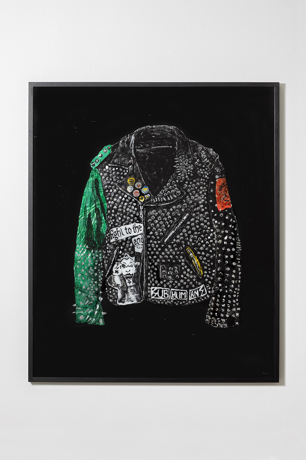 Rose Eken, Jacket with Green Sleeve, 2018 (Acrylic and tinsel foil on glass, 120 x 100 cm).