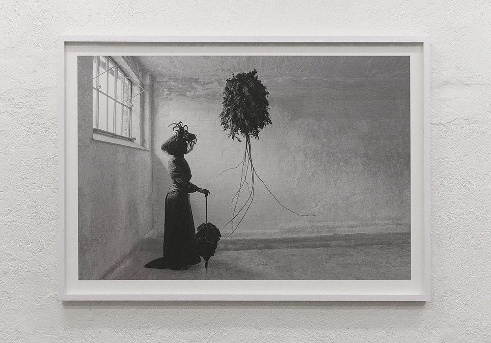 "Louise Drost Harton ""The Black Widow,"" 2018 (Black and white photo print, 120X80cm). Photo: Valérie Collart."
